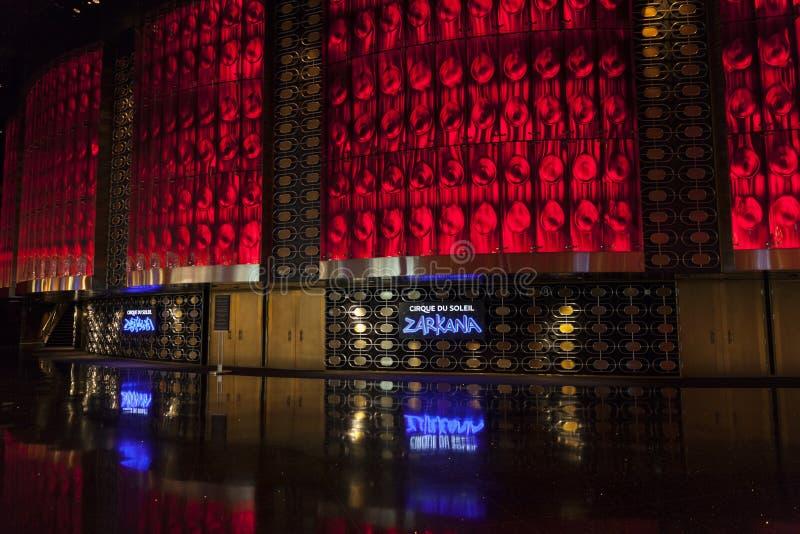 Entrada al teatro de Zarkana en la aria en Las Vegas, nanovoltio en agosto 0 foto de archivo libre de regalías