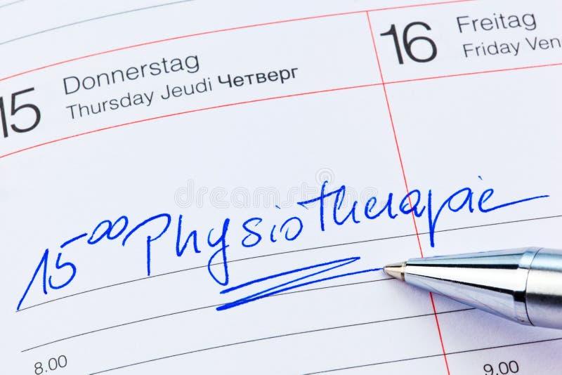 Entrada ao calendário: fisioterapia fotografia de stock royalty free