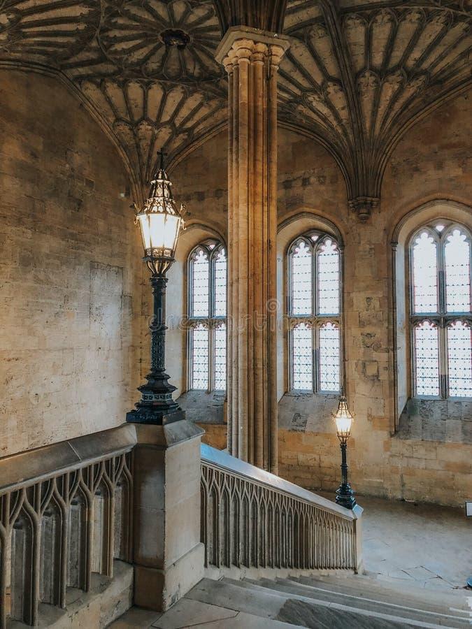 Entrada ao grande salão da faculdade da igreja de Cristo da universidade de Oxford foto de stock