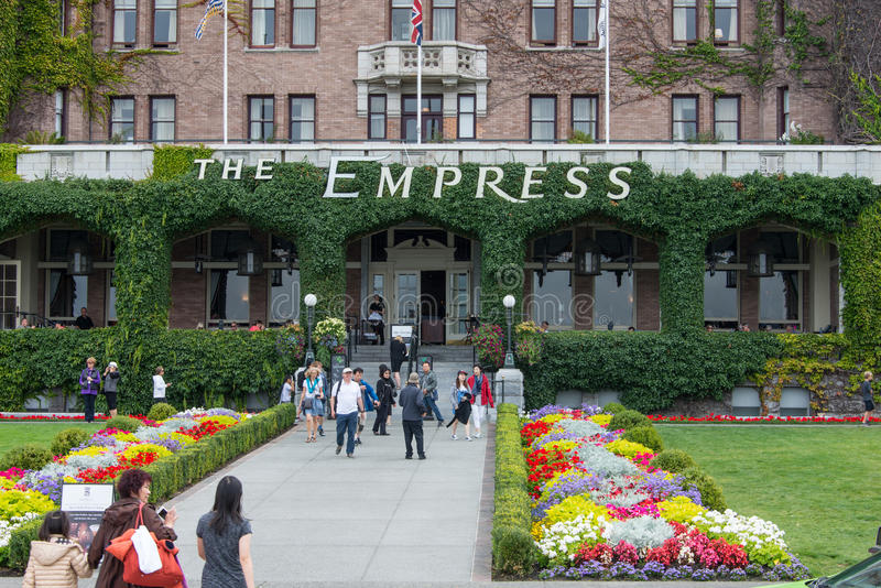 Entrada ao hotel da imperatriz, Victoria, Canadá foto de stock