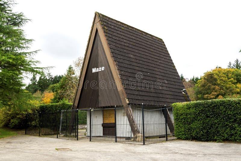Entrada ao labirinto plantado o mais velho da conversão em Escócia no parque de Hazlehead, Aberdeen foto de stock royalty free