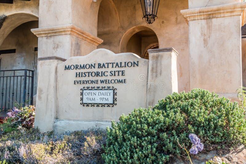 Entrada ao local histórico do batalhão do mórmon em San Diego imagens de stock royalty free