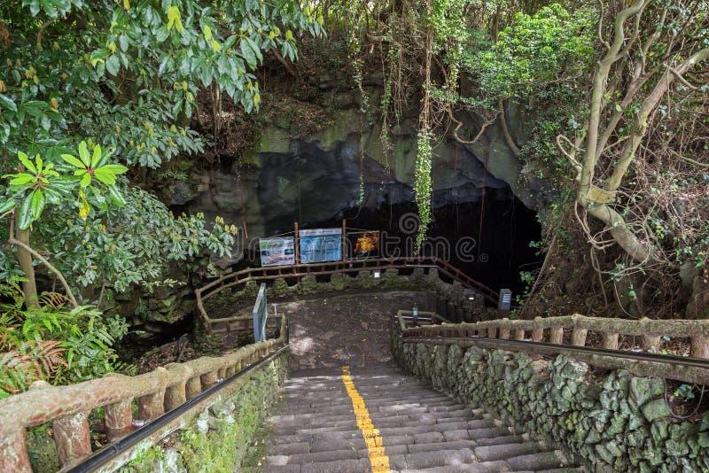 Entrada ao Manjanggul Lava Tube Cave na ilha de Jeju imagens de stock