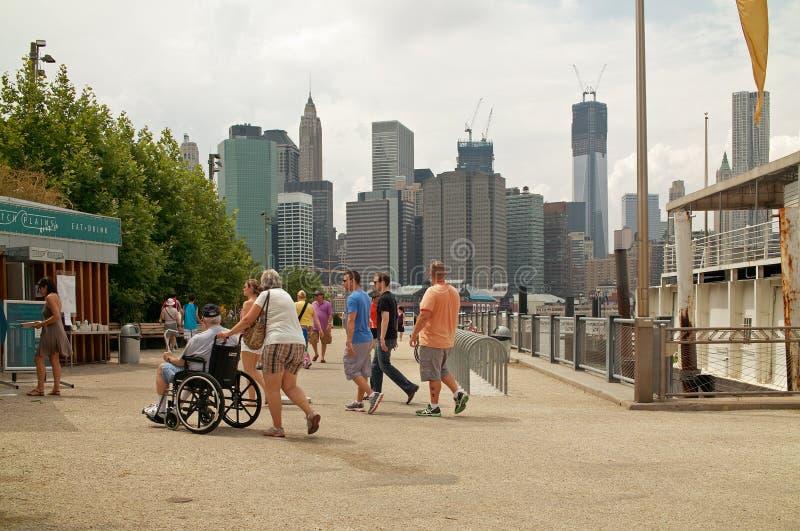 Entrada ao parque New York da ponte de Brooklyn Brooklyn imagem de stock royalty free