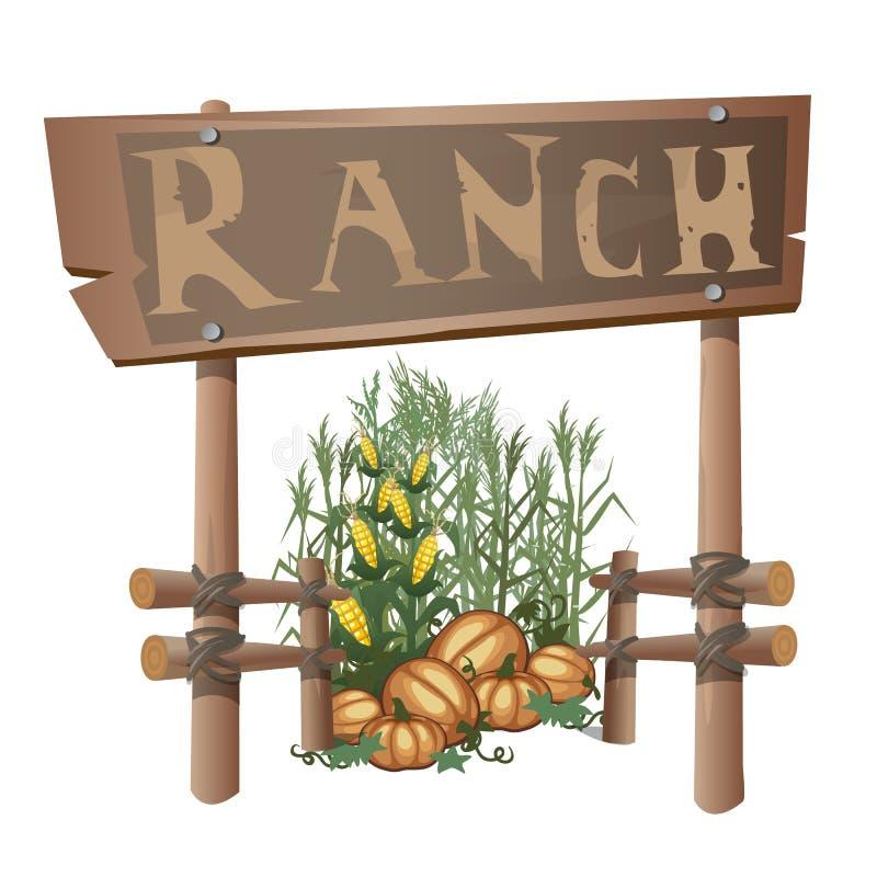 Entrada ao rancho, colheita do milho e abóboras ilustração stock