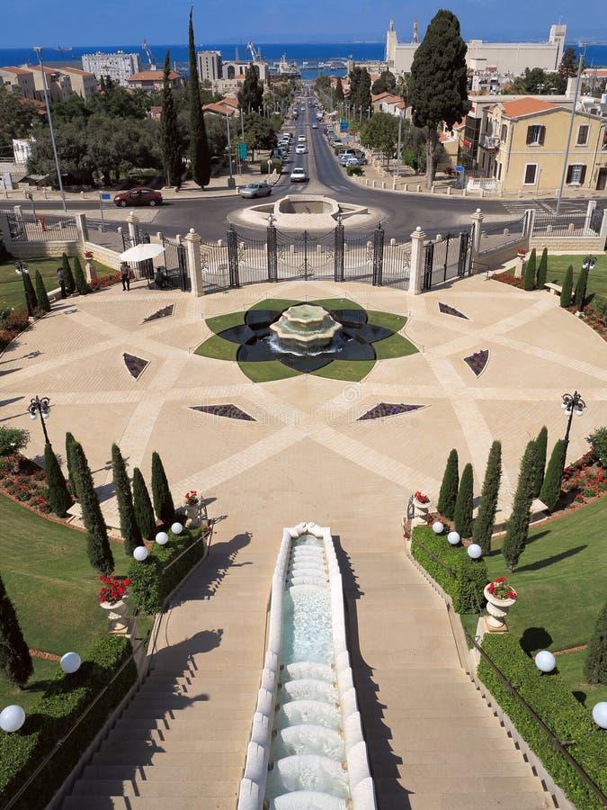 Entrada aos jardins de Bahai imagens de stock royalty free
