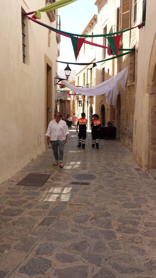 Entrada aos mercados do árabe no castelo da Espanha de Ibiza imagens de stock