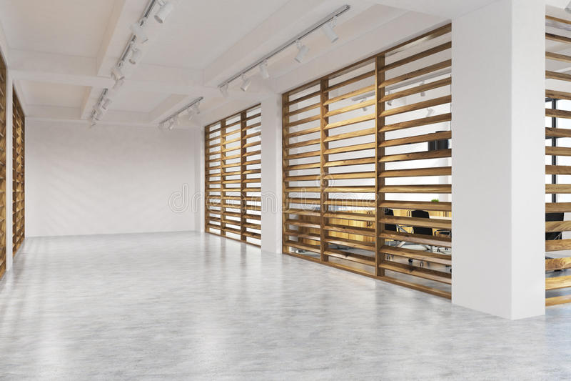 Entrada branca e de madeira da empresa da parede, lado ilustração do vetor