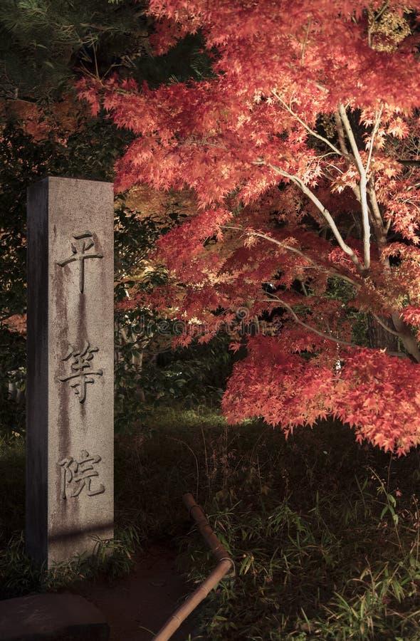 Entrada Byodo-en del templo budista en Uji, Kyoto, Jap?n Un sitio del patrimonio mundial de la UNESCO Los caracteres japoneses en imagen de archivo