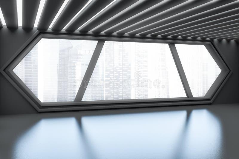 Entrada cinzenta futurista do escritório com janela sextavada ilustração do vetor