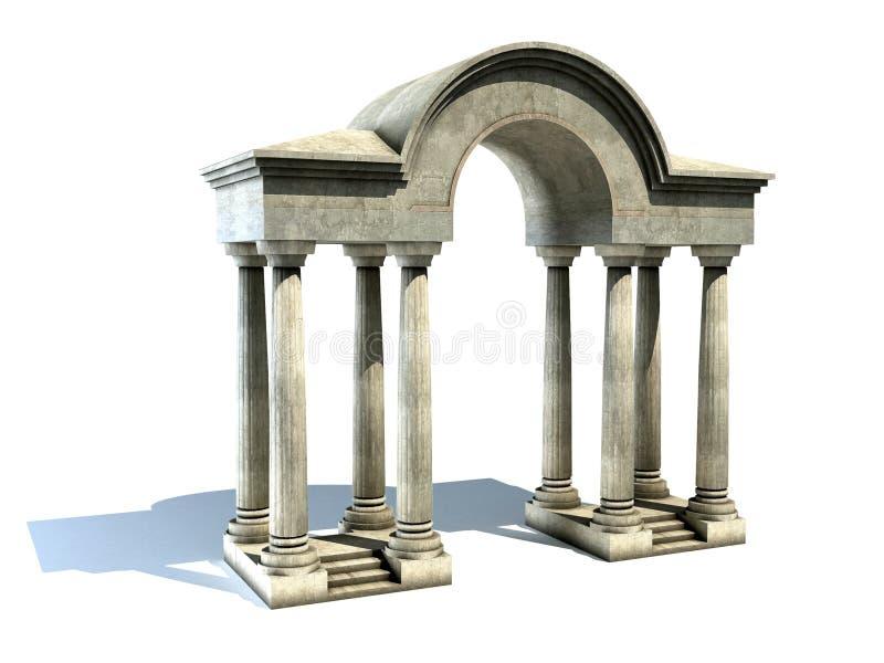 Entrada com arco e colunas ilustração do vetor
