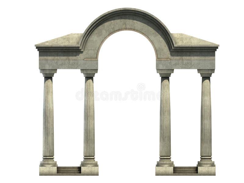 Entrada com arco e colunas ilustração stock