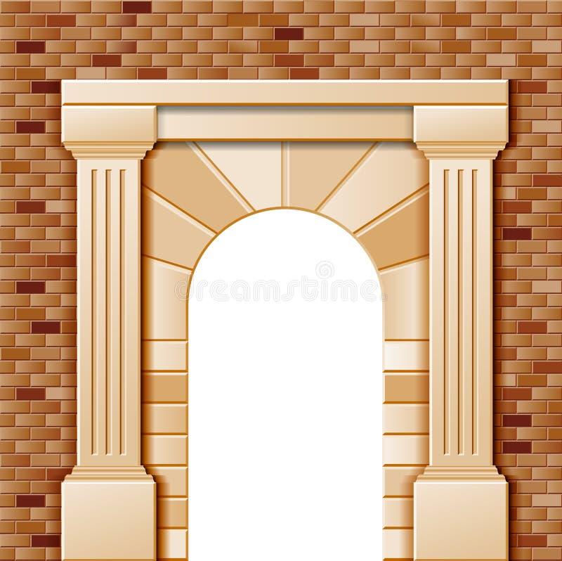 Entrada con el arco ilustración del vector