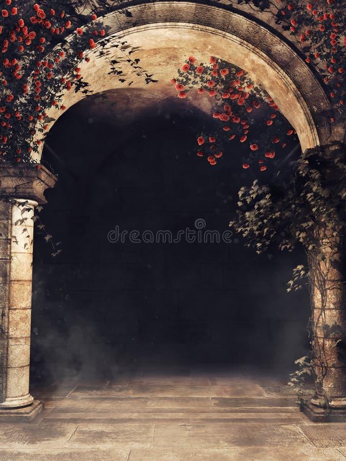 Entrada con las rosas y las vides ilustración del vector