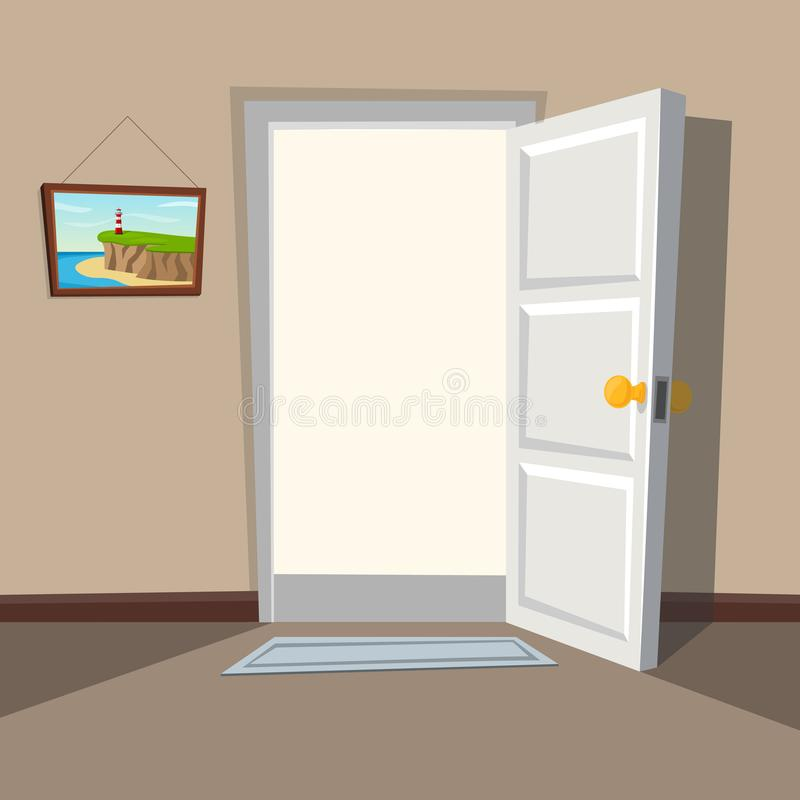 Entrada con una puerta blanca abierta Recepción al mundo real Inte ilustración del vector