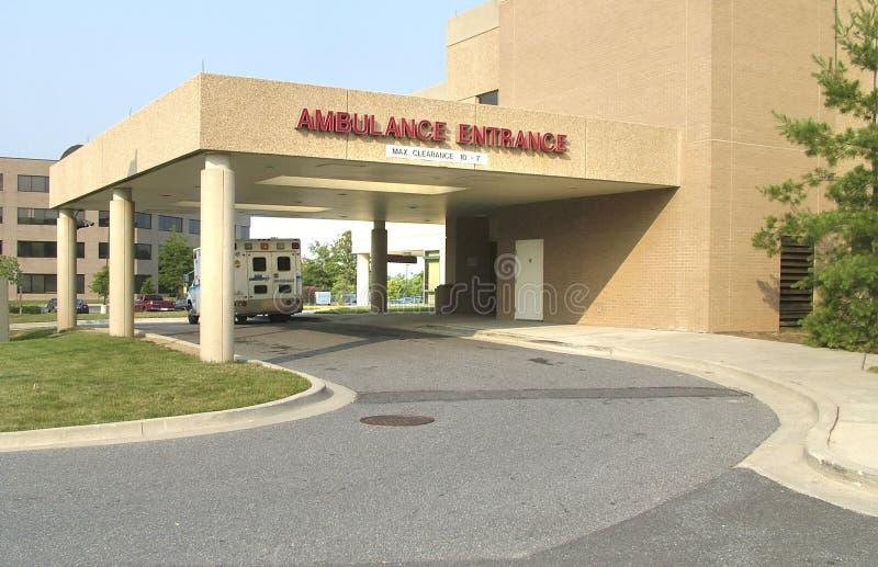 Entrada da ambulância em maior Laurel Hospital no louro, Maryland imagens de stock royalty free
