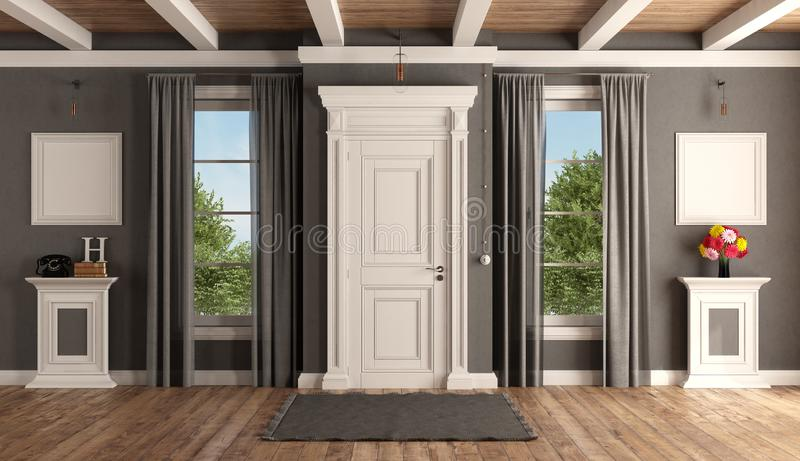 Entrada da casa de uma casa de campo clássica ilustração royalty free