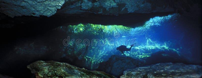 Entrada da caverna do Dos Ojos fotos de stock royalty free