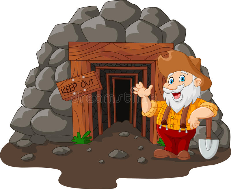 Entrada da mina dos desenhos animados com o mineiro de ouro que guarda a pá ilustração royalty free