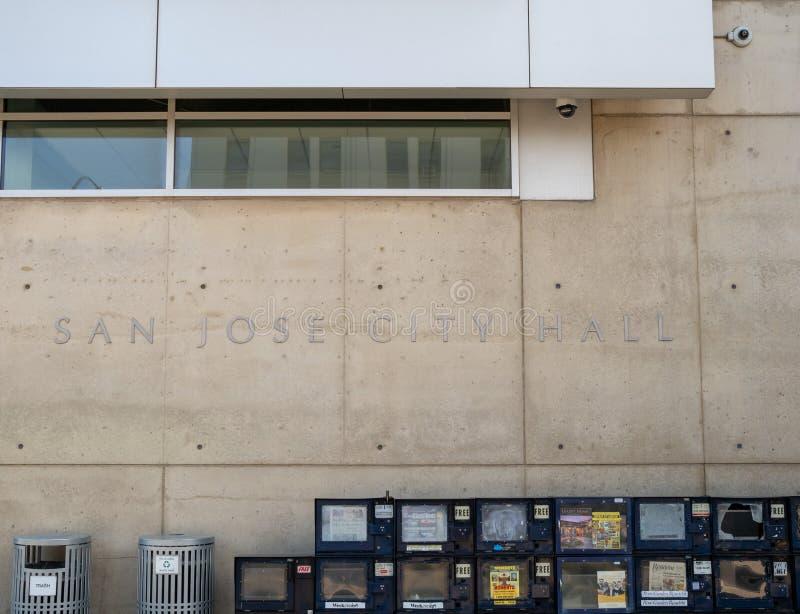 A entrada da rua a San Jose City Hall fotografia de stock