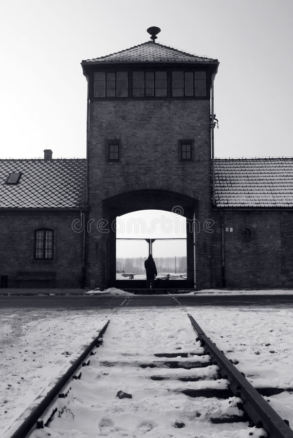 Entrada de Auschwitz/Birkenau imagens de stock