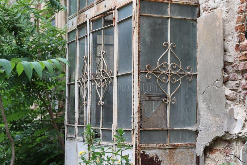 Entrada de cristal de la puerta de la vieja princesa foto de archivo libre de regalías