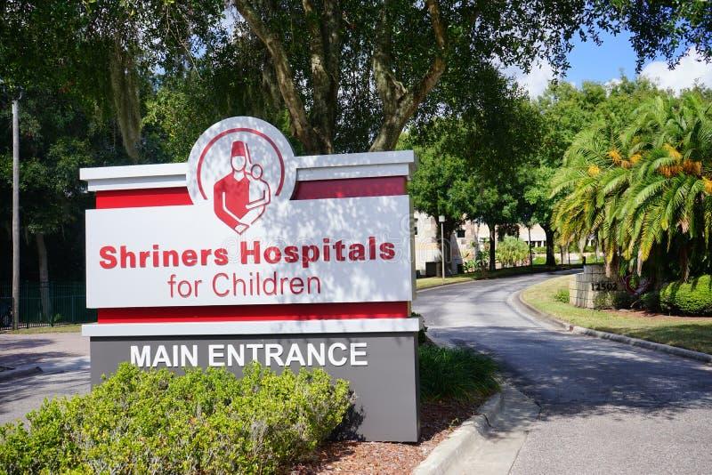 A entrada de hospitais de Shriners para crianças fotografia de stock