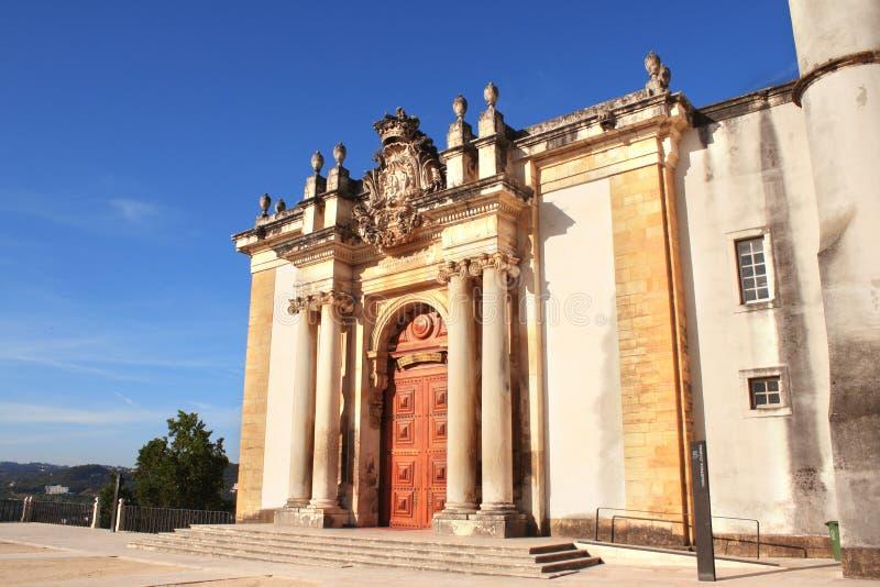 Entrada de la biblioteca de Joanina, universidad de Coímbra, Portugal imagen de archivo