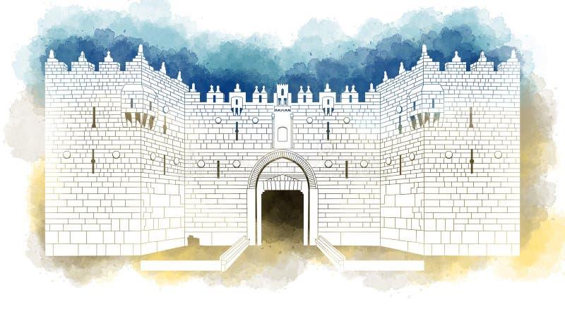 Entrada de la puerta de Damasco, ciudad vieja, Jerusalén, Israel, mano dibujada libre illustration