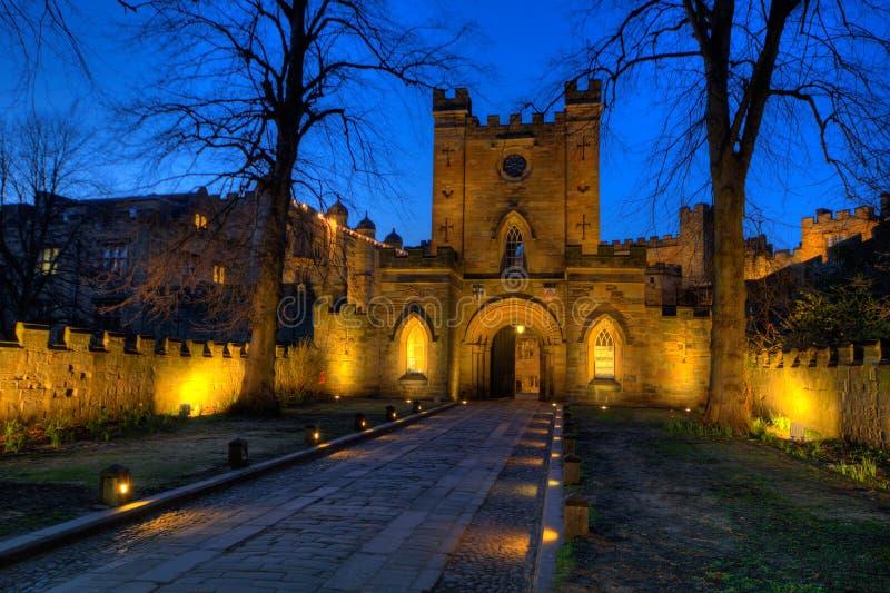Entrada de la puerta del castillo de Durham fotos de archivo libres de regalías
