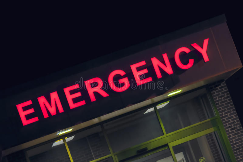 Entrada de la sala de urgencias del hospital foto de archivo