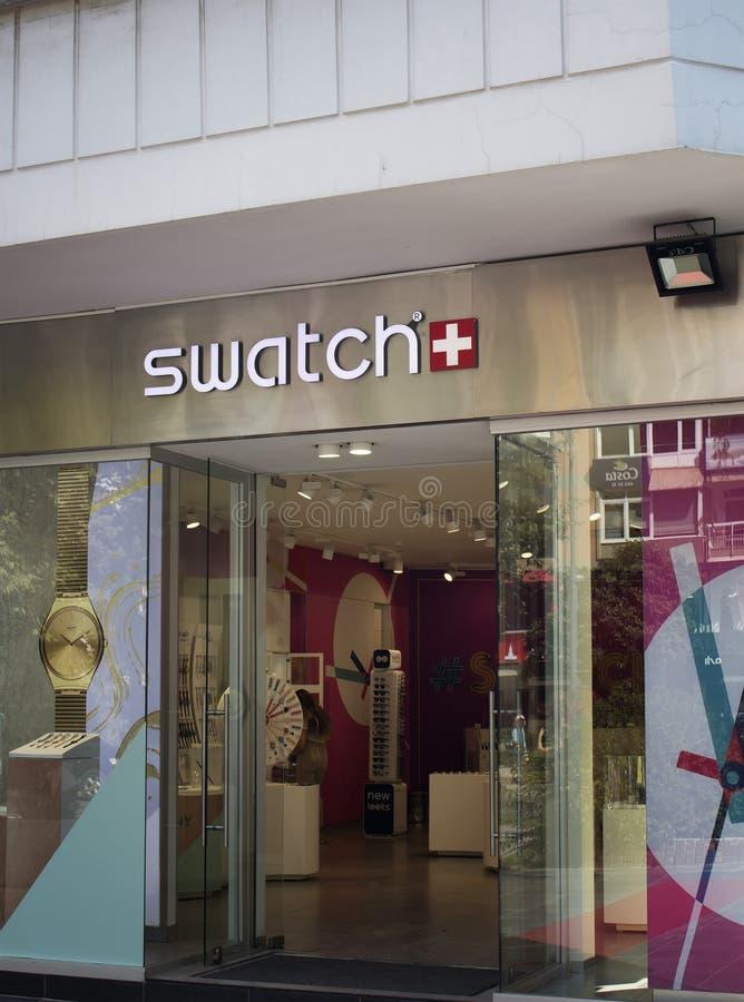 Entrada de la tienda de un relojero suizo fotografía de archivo libre de regalías