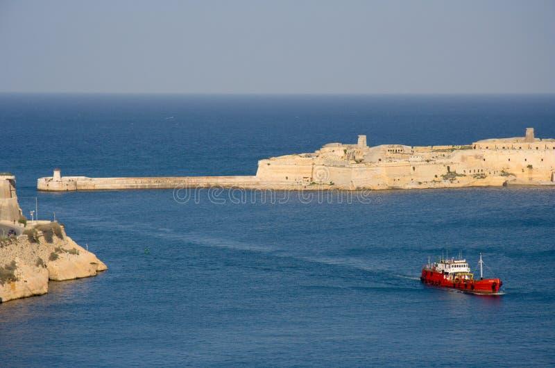 Entrada de porto grande de Malta, Valletta imagem de stock