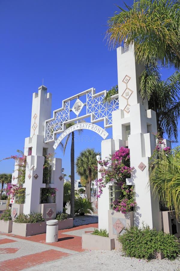Entrada de Sarasota Bayfront imagens de stock