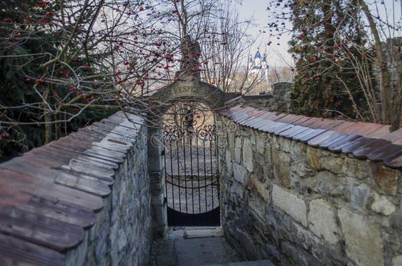 Entrada de un cementerio con una puerta abierta del labrado-hierro imagen de archivo