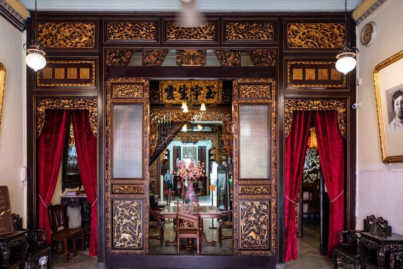 Entrada del bizcocho borracho y del museo de la herencia de Nyonya en Malaca, Malasia imagen de archivo