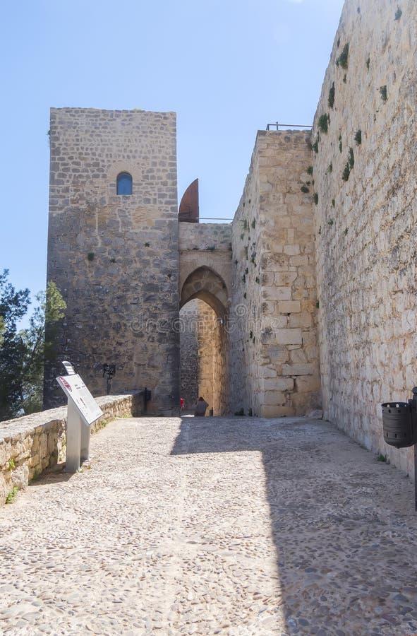 Entrada del castillo de Santa Catalina, Jaén, España foto de archivo libre de regalías