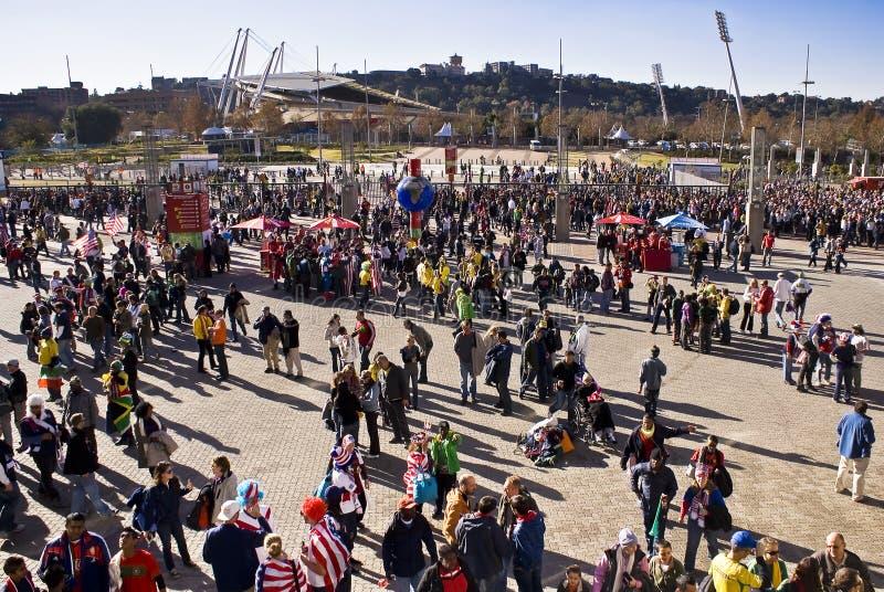 Entrada del estadio de los partidarios del fútbol - WC 2010 de la FIFA foto de archivo