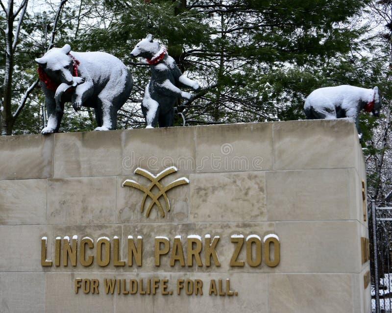 Entrada del oeste a Lincoln Park Zoo imagenes de archivo