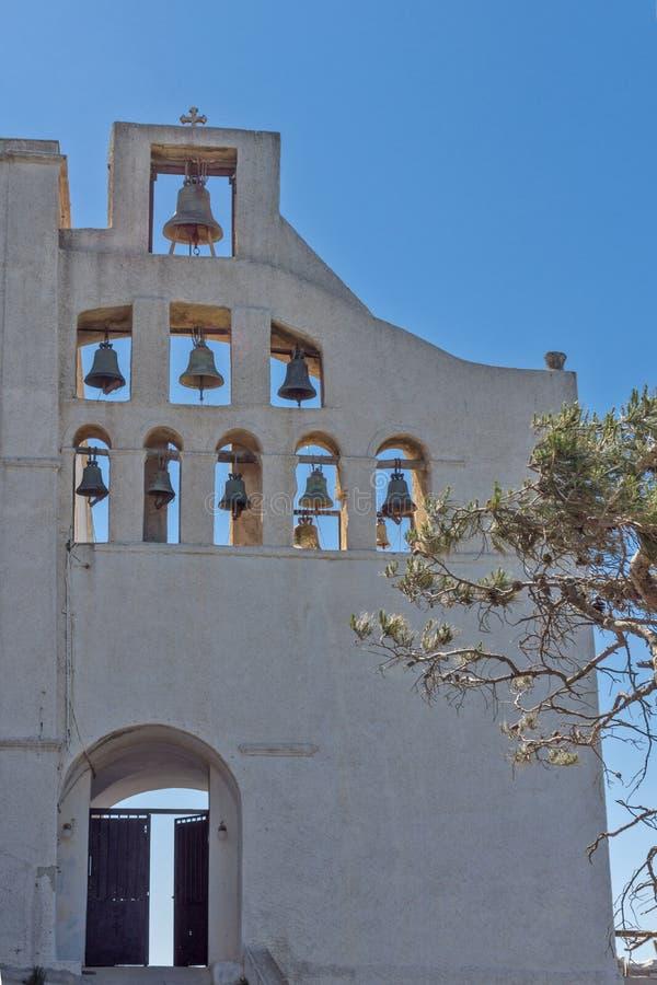 Entrada del profeta Elias, isla de Santorini, Thira, Grecia del monasterio imágenes de archivo libres de regalías