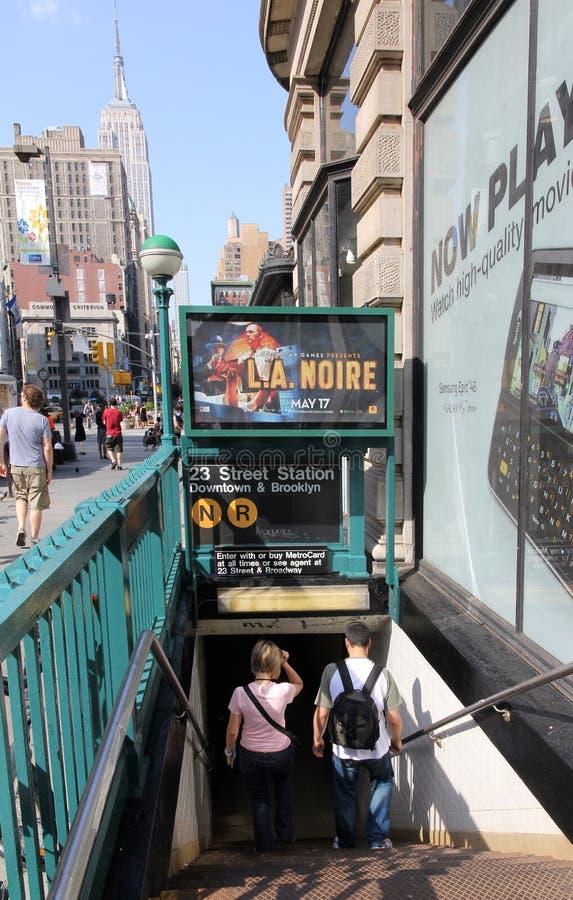 Entrada del subterráneo de Nueva York imagen de archivo libre de regalías