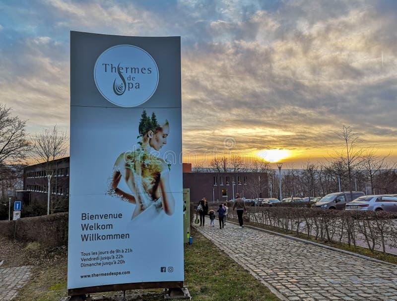 Entrada del Thermes de Spa, el complejo principal del balneario en el balneario, Belgiulm Esta ciudad es el origen del balneario  foto de archivo libre de regalías