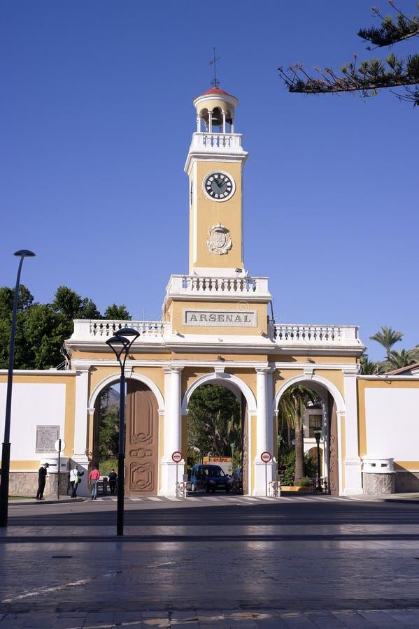 Entrada do arsenal de Cartagena imagens de stock