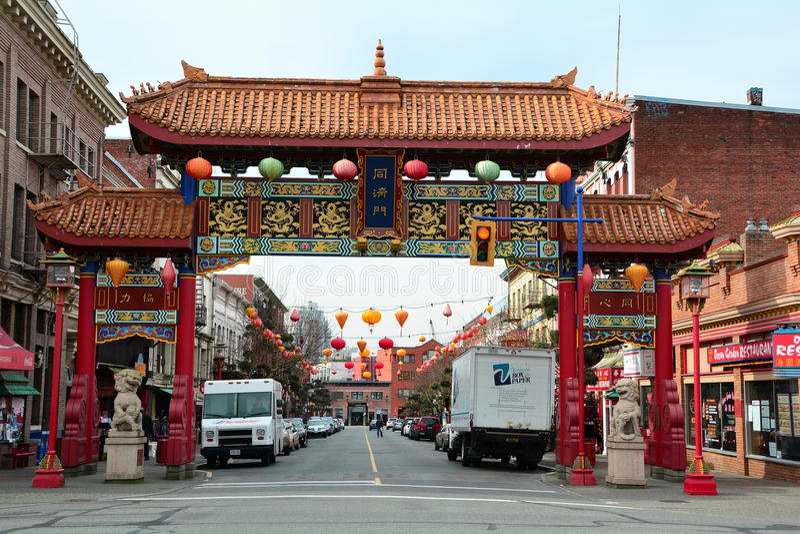 Entrada do bairro chinês, Victoria BC, Canadá imagens de stock royalty free