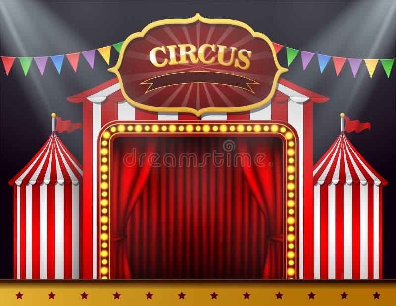 A entrada do circo com uma cortina vermelha fechou-se ilustração stock