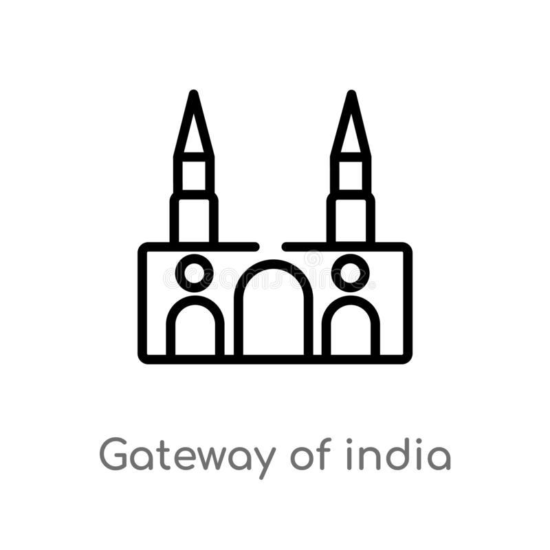 entrada do esbo?o do ?cone do vetor de india linha simples preta isolada ilustra??o do elemento do conceito dos monumentos Vetor  ilustração royalty free