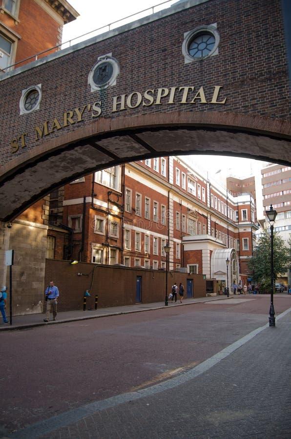 Entrada do hospital de St Mary, Paddington fotografia de stock