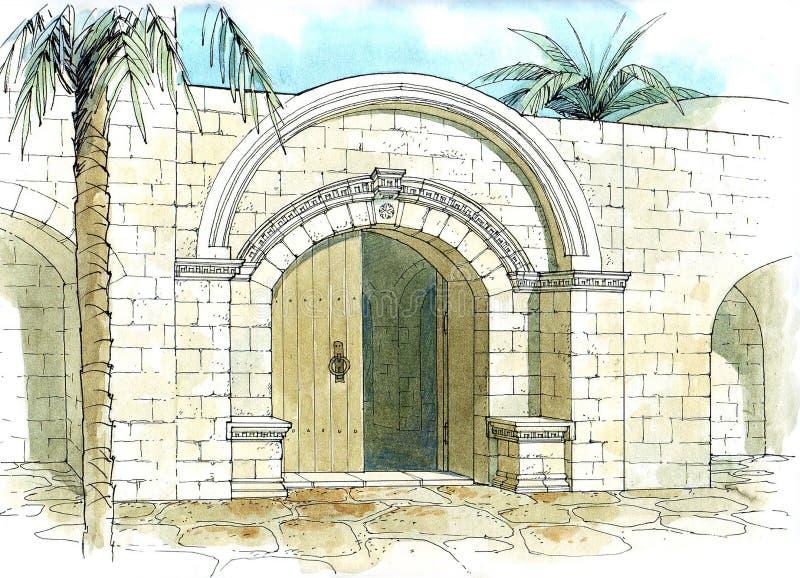 A entrada do hostelry ilustração do vetor