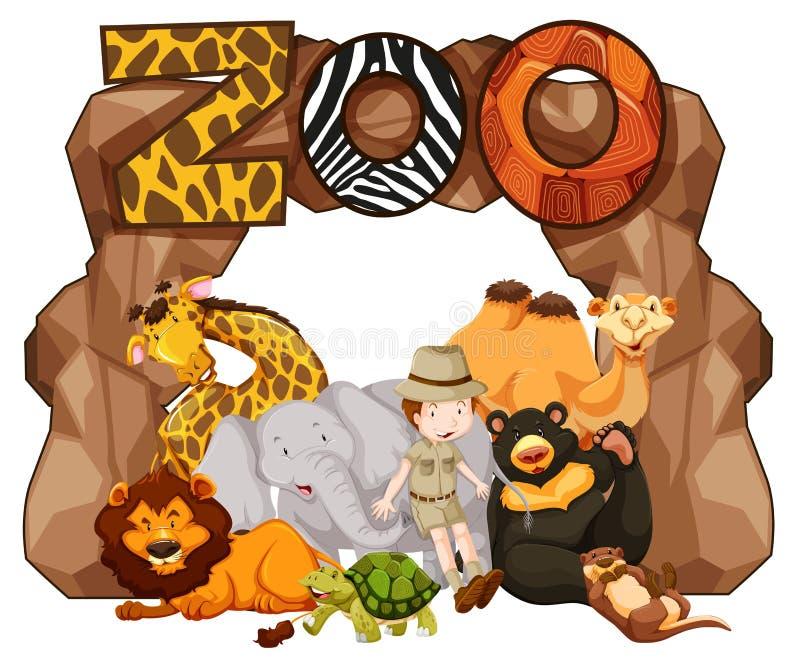 Entrada do jardim zoológico com muitos animais selvagens ilustração do vetor