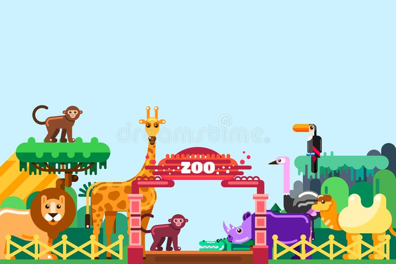 Entrada do jardim zoológico, ilustração lisa do vetor Animais bonitos em torno das portas coloridas Fim de semana no parque, conc ilustração stock